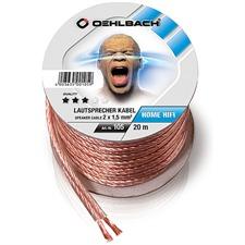 Oehlbach 105 - Speaker Wire SP-15 2000 - Lautsprecherkabel flexibel Mini-Spule (20m / transparent / Kupfer / 2 x 1,5qmm)