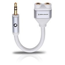 Oehlbach 60020 - i-Connect - Audio-Y-Adapter 1 x 3,5 mm Klinken Stecker auf 2 x 3,5 mm Klinken Buchse (1 Stk / 14,5 cm / weiß/gold)