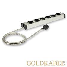 Goldkabel 822458 - POWERLINE MK II 6er Netzleiste (1 Stück / 1,5 m / schwarz/silber)