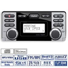 CLARION CMD8 - Wasserfester Marine iPhone/iPod/CD-/USB-/MP3-/WMA-Receiver (180 Watt / 2DIN)