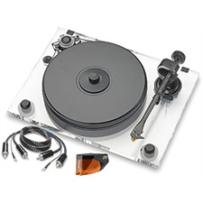 Pro-Ject 2-Xperience Acryl SB SuperPack - record player incl. tonearm + Ortofon MM cartridge 2M Bronze + speedbox (with electronic speed control / incl. tonearm cable / incl. dust cover)