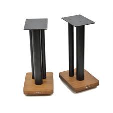 Atacama Moseco XL600 - Lautsprecherständer (620 mm / schwarz & Bodenplatte aus dunklem Bambus Vollholz = dark bamboo / 1 Paar)