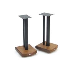 Atacama Moseco 5 - Lautsprecherständer (515 mm / schwarz & Bodenplatte aus dunklem Bambus Vollholz = dark bamboo / 1 Paar)
