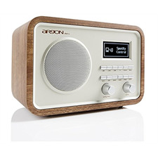 ARGON iNet2+ - Internetradio + Musikstreamer (kombiniertes digitales iNet, DAB+ und UKW-Stereo-Desktop-Radio / Walnuss Echtholzfurnier mit beigefarbener Front / OLED Display)