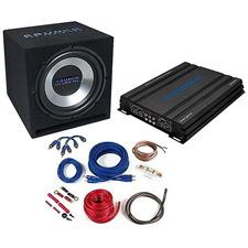 CRUNCH CBP1000 - 1000 Watt Basspack - Auto Hifi Bass Anlage Komplett Set (Paket bestehend aus 1 x Verstärker Crunch GPX1000.4, 1 x Subwoofer Crunch GPX350, 1 x Kabel-Set Crunch GPX10WK)