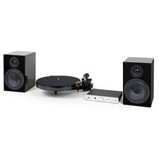 Pro-Ject Supersense SuperPack - HiFi-Set in Hochglanz schwarz (Plattenspieler + Lautsprecher + Verstärker + Kabel)