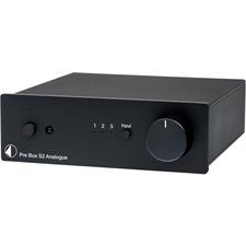 Pro-Ject Pre Box S2 Analogue - Stereo Line Vorverstärker (mit 3 Hochpegel-Eingängen / + SMD Technologie / inkl. IR Fernbedienung / schwarz)
