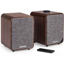 ruarkaudio MR1 MKII - aktives Stereo-Bluetooth Lautsprechersystem (Bluetooth / Aux-In / Optical In / Klasse A-B Verstärker / Apt-x-Bluetooth / Walnuss Echtholzfurnier)