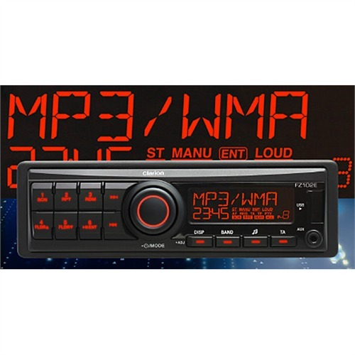 clarion fz102e 1 din autoradio usb mp3 short body radio. Black Bedroom Furniture Sets. Home Design Ideas